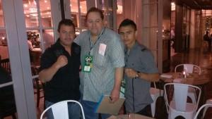 Left-Right: Trainer Armando Lopez, Manager Cameron prized fighter Alexis Zazueta