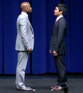 Floyd Mayweather and Manny Pacquiao Face Off